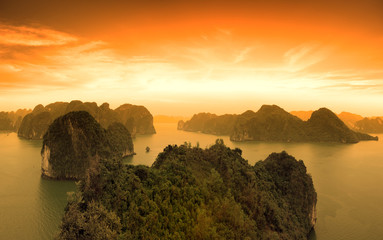 Sunset sky and mountains rocks of Halong Bay Vietnam