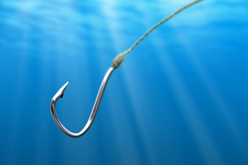 Fishing hook in the sea