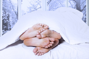 Closeup of four feet in a bed