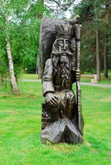 Wooden sculpture in park of Druskininkai city