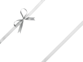 silver ribbon with bow for packaging