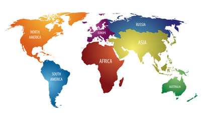 World Continents and Russia Color