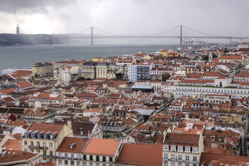 Lisbon Aerial View and The 25th of April Bridge