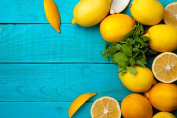 Lemons frame on the bright cyan background