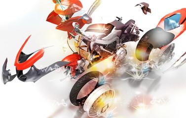 Motore moto, esploso meccanico, pezzi di ricambio