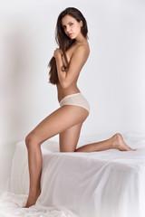 Beautiful woman in white underwear.