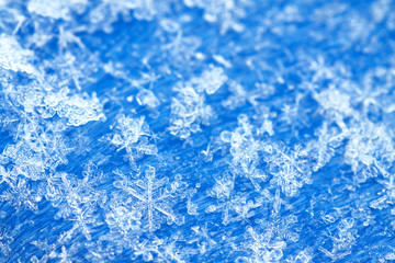blue white winter background from snowflakes blur