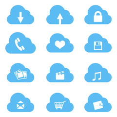 Vector Set of Cloud Icons with Different Conceptions