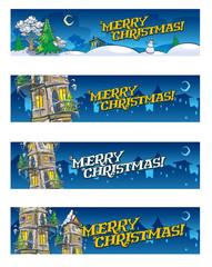 Set of 4 Christmas baners