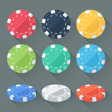 Set of colorful gambling chips, casino tokens. Flat style