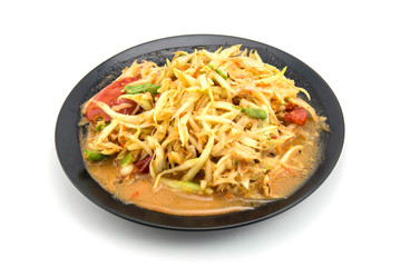 Closeup Thai papaya salad serve with vegetables, popular thailand