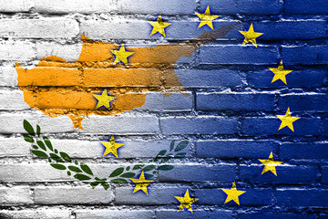 Cyprus and European Union Flag painted on brick wall
