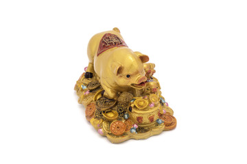 Golden pig on treasure, Charm