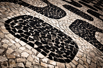 Traditional Portuguese Sidewalk Mosaic, Ipanema Beach Pattern