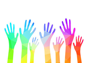 Collection of multicolored hands. Vector EPS10.
