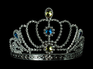 silver tiara on the black background