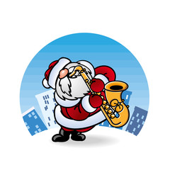 Дед Мороз Santa Claus играет на саксофоне
