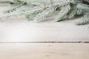 green Christmas tree branch with snow on a wooden background