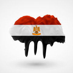 Flag of Egypt painted colors