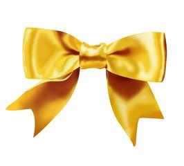 Gold gift ribbon on white background
