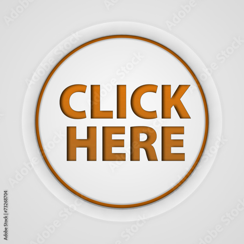 """Click here circular icon on white background"" Stock photo ..."