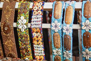 Colorful bracelets on market in Ubud, Bali