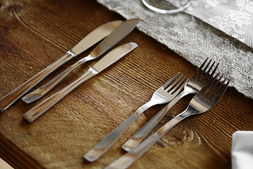 Forks and knives on a table