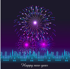 Happy New Year with fireworks background vector illustration