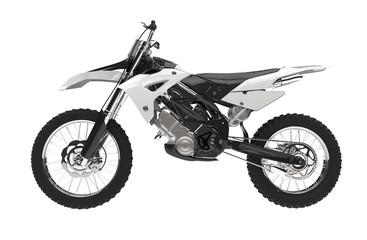 White motocross bike isolated on white background