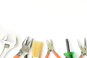 Group of used tools on white background