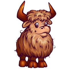 Vector illustration of yak in cartoon style