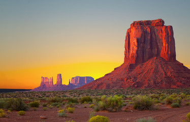 Monument Valley, USA colorful desert sunrise