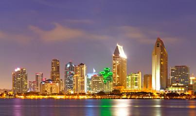 City of San Diego California, colorful   sunset panorama