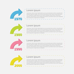 Timeline vertical Infographic colored arrows text Template Flat