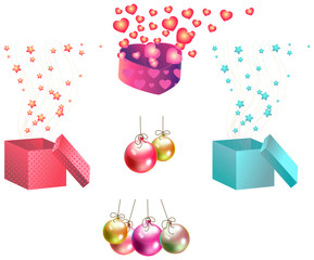 Christmas gifts and ornaments icon set, create by vector