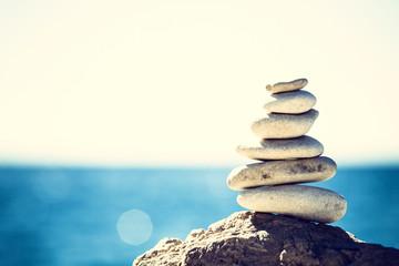 Stones balance, vintage pebbles stack background Fototapete