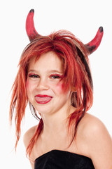 Young Girl in Wig Posing as a Devil