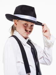 Little Girl with Hat Posing as a Gangster