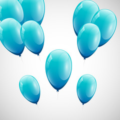 Blue balloons with white background