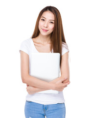 Asian woman with notebook