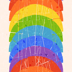 Seamless vertical pattern with rainbow
