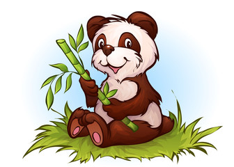 Vector illustration of panda in cartoon style