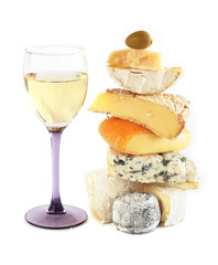 Stack of assorted cheese and wine