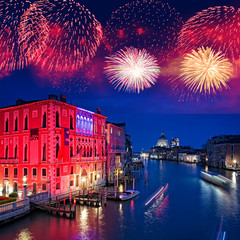 Türaufkleber Venedig Fireworks over the Grand Canal of Venice by night, Italy