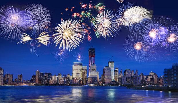 New York skyline at night with fireworks