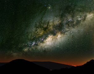 Milky Way over the mountains.