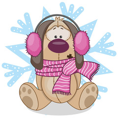 Dog in a fur headphones