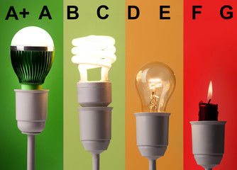 positioning of various lightings by energy savings and by colors