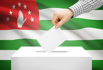 Ballot box with national flag on background - Abkhazia