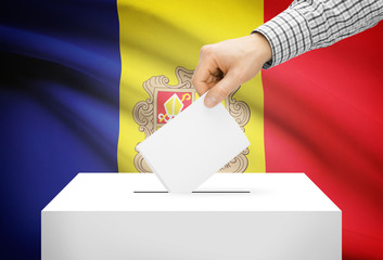 Ballot box with national flag on background - Andorra